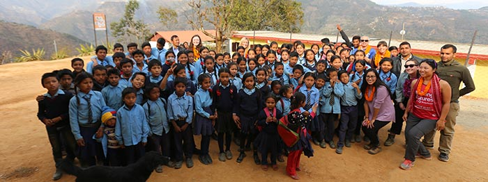 Students outside of the school in Nepal