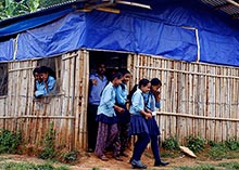 Students leaving a building in Nepal