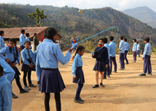 Students in Nepal playing outside