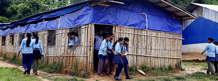 Temporary learning centre in Nepal before project