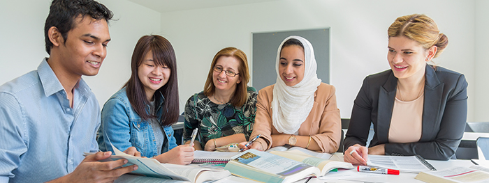 Students working together at Lancaster University International Study Centre