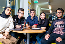 Keele University International Study Centre students in shared study space