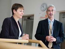 Caroline Lucas MP with James Pitman, Managing Director Higher Education UK